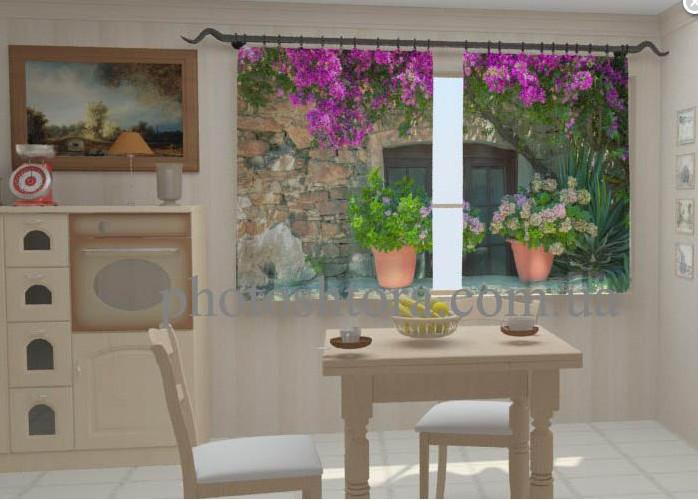 """Шторы на кухню """"Цветы в горшках для кухни"""" 150 х 250 см"""