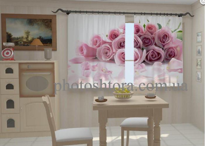 "Шторы на кухню ""Лепестки роз для кухни"" 150 х 250 см"