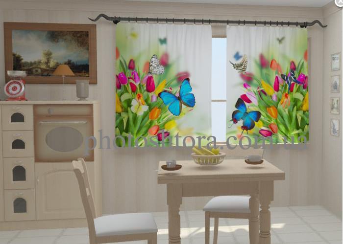 """Штори на кухню """"Небесні метелики в кухні"""" 150 х 250 см"""