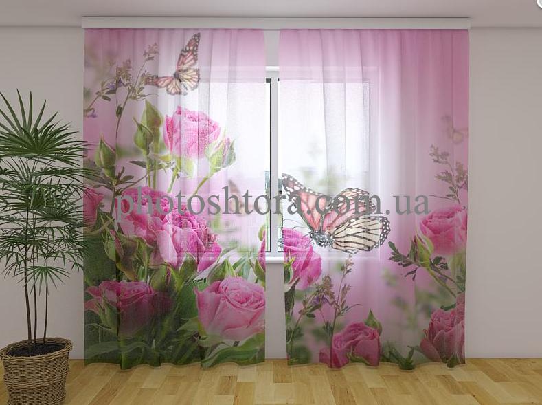 Фото Тюль Бабочки и розовые розы 250 см х 260 см
