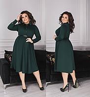 Стильное трикотажное платье -рубашка   (48-58)