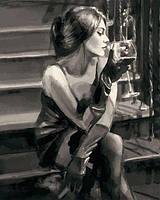 "Картина раскраска по номерам ""Девушка с бокалом на лестнице"" на холсте 40Х50 см. Babylon VP1234"