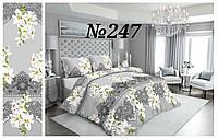 Постельное бельё, бязь GOLD, двуспальный с европростынью комплект, лилии на сером фоне