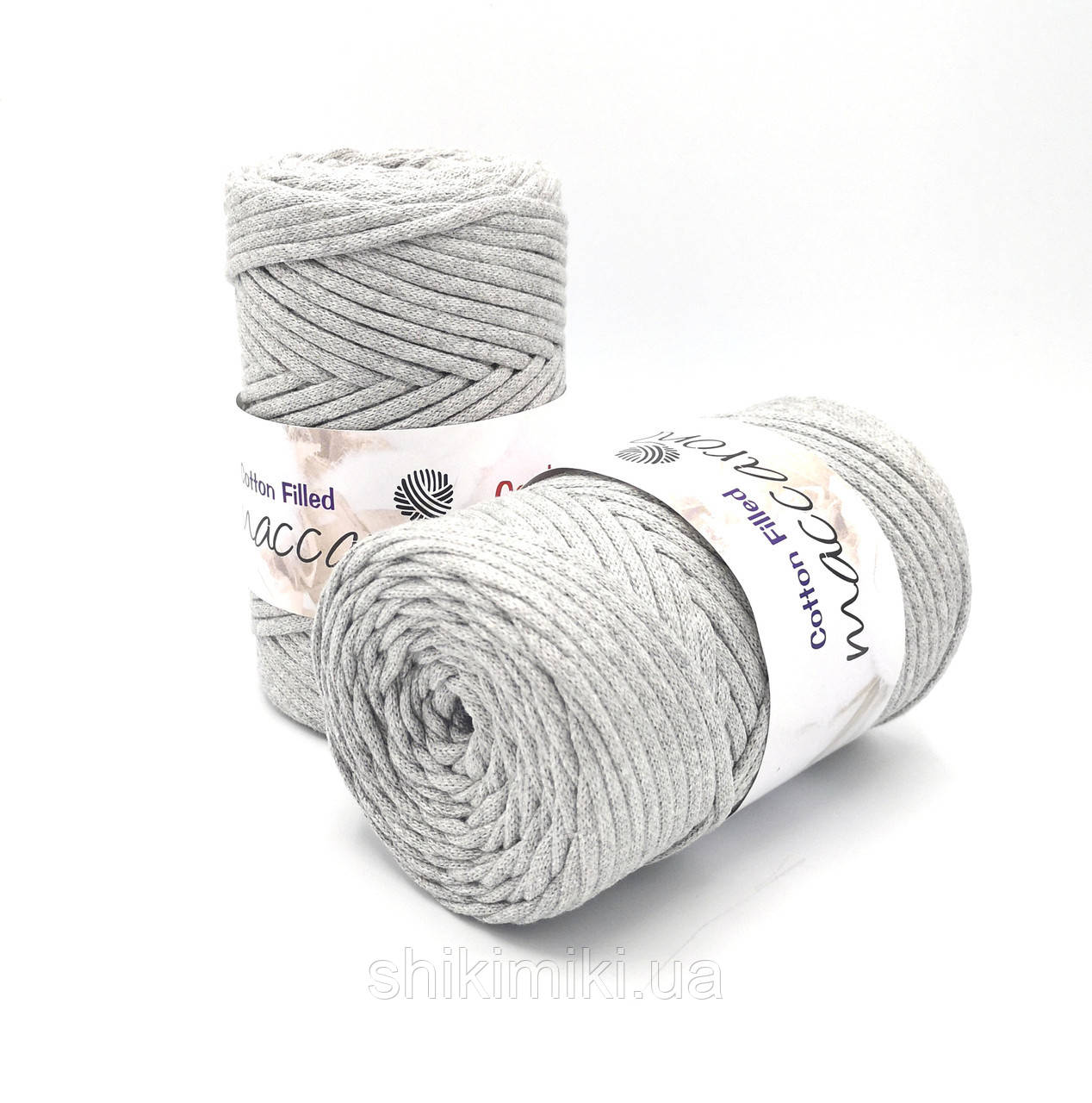 Трикотажный хлопковый шнур Cotton Filled 5 мм, цвет Серый меланж