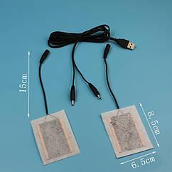 Нагревательные элементы в перчатки / одежду с питанием от USB до 50 градусов  №1 - 2 X 7*5 см, текстиль, USB