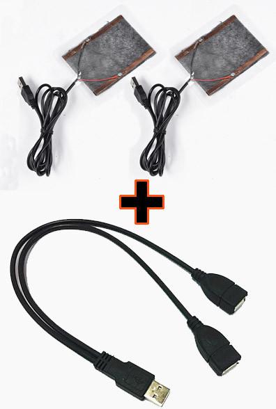 Нагрівальні елементи в рукавички / одяг з живленням від USB до 50 градусів №3 - 2 X 8*6 см, ламінат, USB