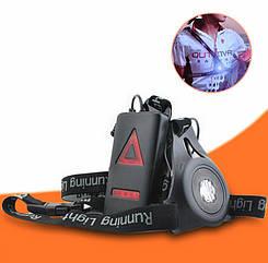 Нагрудная водонепроницаемая фара со стоп-сигналом сзади для бегунов с аккумулятором 200 мАч, зарядка USB