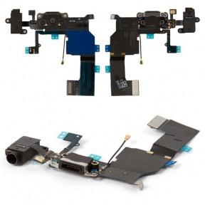 Шлейф Apple iPhone 5C с разъемом зарядки, коннектором наушников и микрофоном черный Оригинал Китай