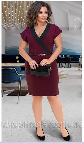 Женское платье с V-образным вырезом бордовое, фото 2