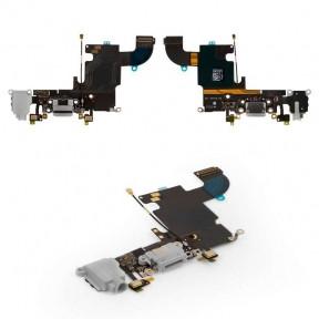 Шлейф Apple iPhone 6S с разъемом зарядки, коннектором наушников, микрофоном, темно-серый