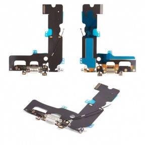 Шлейф Apple iPhone 7 Plus с разъемом зарядки, коннектором наушников, микрофоном, белый, фото 2