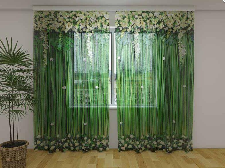 Фото Тюль Ламбрекены Белоснежные цветы 250 см х 260 см