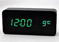 Настольные электронные часы VST-862 с термометром, черные с зеленой подсветкой