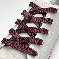 Шнурки простые плоские бордовый 100см (Ширина 7 мм), фото 1