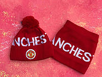Шапка + Баф(горловик) ФК Манчестер Юнайтед красная, фото 1