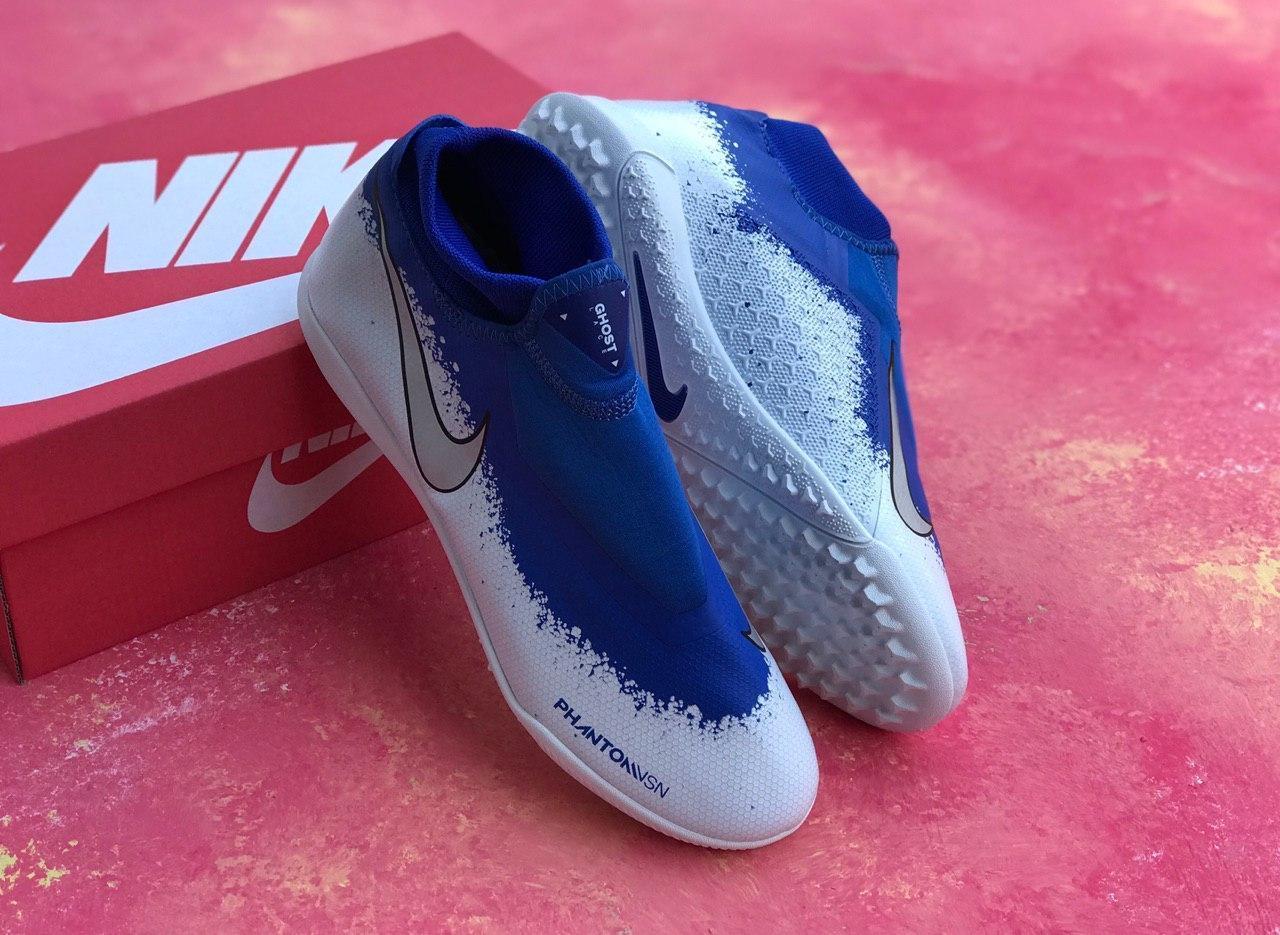 Сороконожки Nike Phantom VSN с носком / футбольная обувь синие