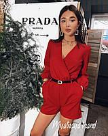 Женский комбинезон костюмка с поясом черный красный беж 42-44 44-46
