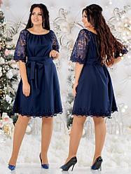 Прекрасное платье свободного кроя с расшитыми рукавами и подолом с кружевом, батал большие размеры