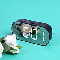 Электронные настольные зеркальные LED часы DT-6506 белая подсветка