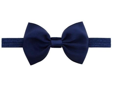 Детская повязка синего цвета - окружность головы  40-60см, бант 12см