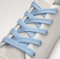 Шнурки простые плоские голубой 70см (Ширина 7 мм), фото 1