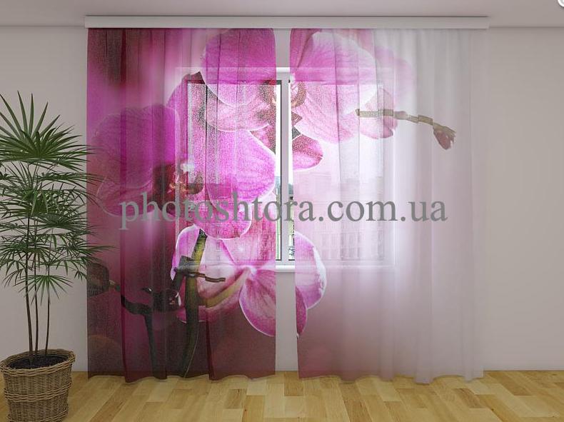 Тюль з малюнком Пурпурна орхідея 250 см х 260 см