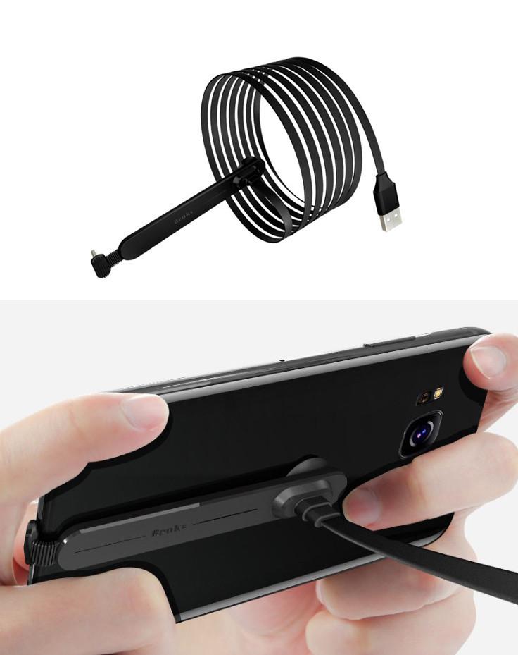 Игровой эргономичный USB-кабель «лапша»TYPE-C для зарядки смартфона WSKEN / BENKS (с присоской, 2 м)