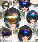 Горнолыжная гибкая легкая широкая ударопрочная маска-очки с UV защитой для мото / вело, фото 10