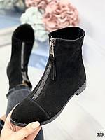 39 р. Ботинки женские деми черные замшевые на низком ходу,демисезонные,из натуральной замши,натуральная замша, фото 1
