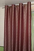 Жаккардовые шторы на люверсах бордовые, фото 1