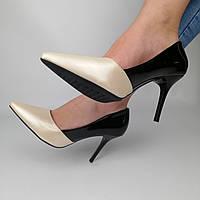 Женские лакированные туфли на каблуке, черные с бежевым