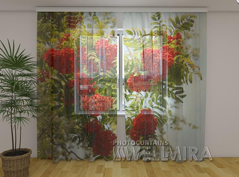 Тюль с рисунком Рябина  250 см х 260 см