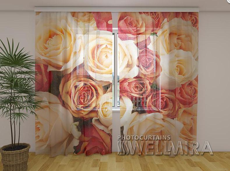 Тюль з малюнком Карамельні троянди 250 см х 260 см