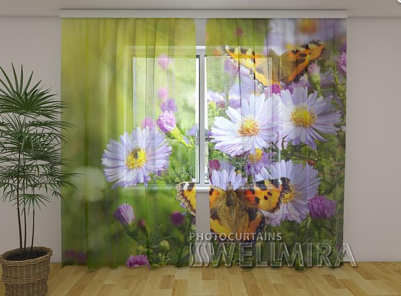 Тюль с рисунком Бабочки 250 см х 260 см