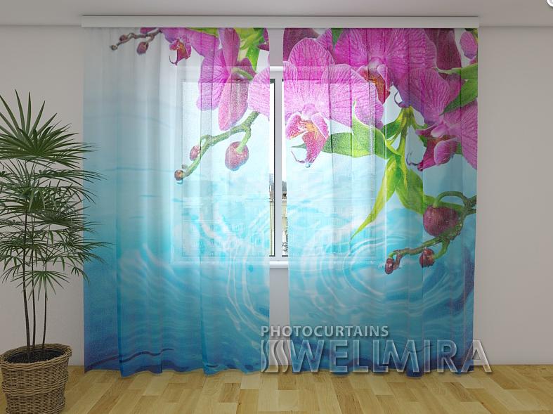 Тюль с рисунком Изумительные орхидеи 250 см х 260 см