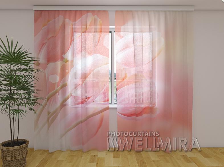Тюль з малюнком Чарівні тюльпани 250 см х 260 см