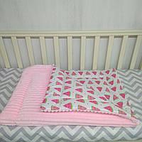 Розовое утепленное одеяло для кроватки или коляски 80*110 см Арбуз