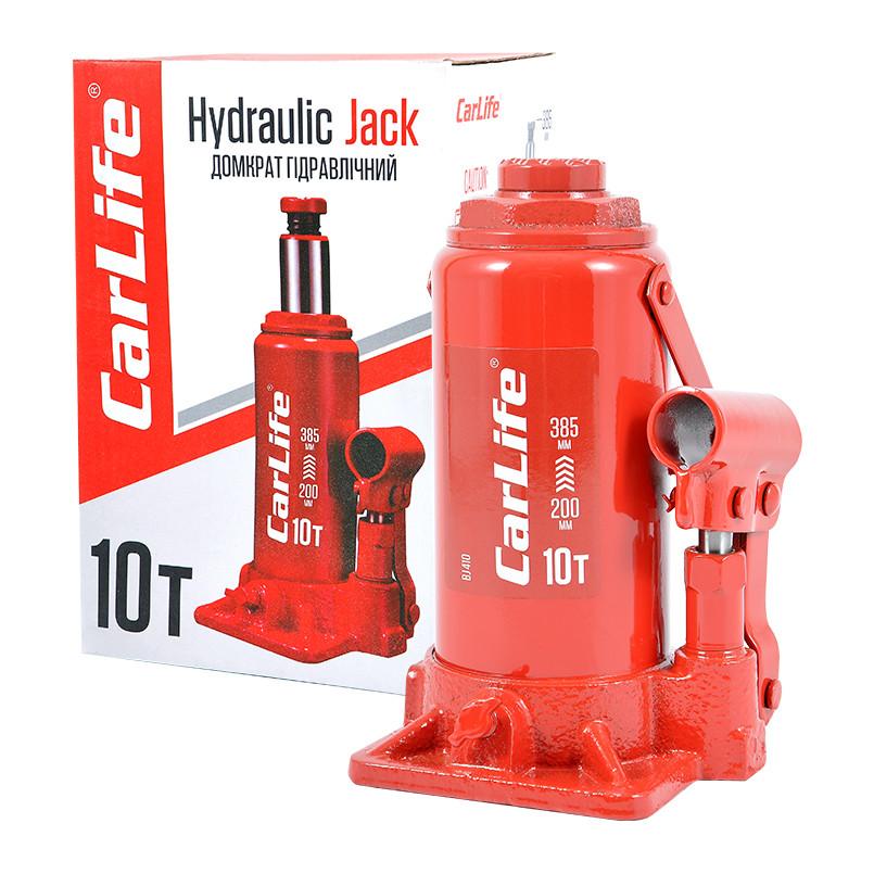 Домкрат бутылочный 10 т 200-385 мм гидравлический CARLIFE (BJ410)