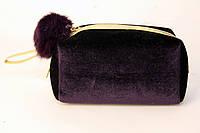 Женская велюровая косметичка среднего размера баклажанового цвета (20411)