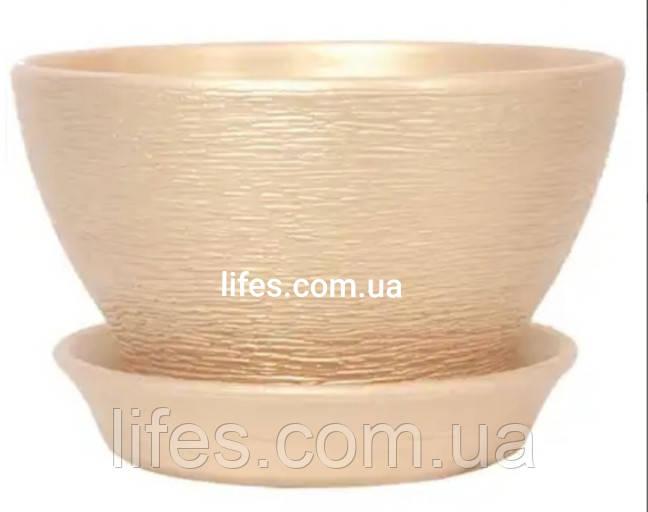 Фиалочница керамическая персиковое золото
