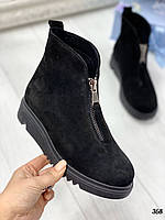 36 р. Ботинки женские деми черные замшевые на низком ходу,демисезонные,из натуральной замши,натуральная замша, фото 1