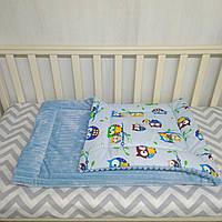 Синее плюшевое одеяло для новорожденных 80*110 см Совы
