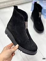40 р. Ботинки женские деми черные замшевые на низком ходу,демисезонные,из натуральной замши,натуральная замша, фото 1