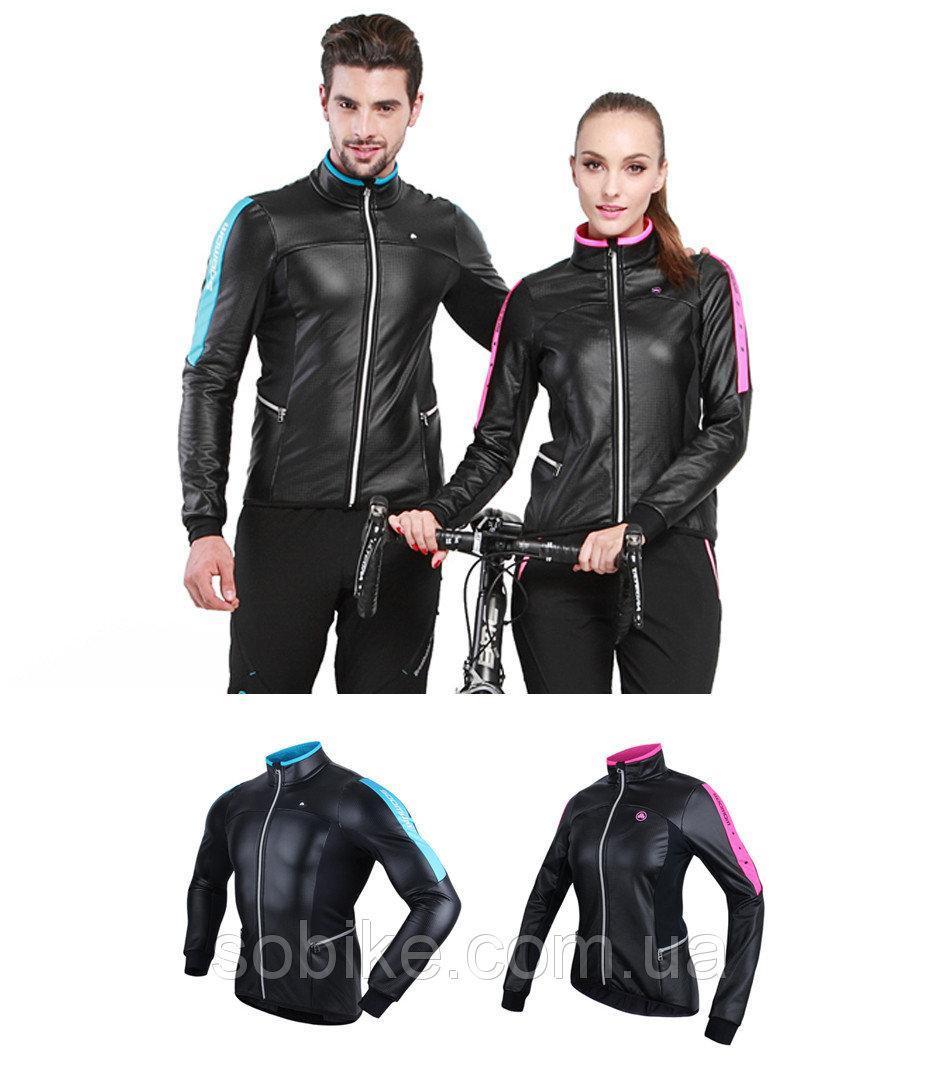 Непродуваемая непромокаемая тёплая мужская / женская вело-куртка на флисе Sobike «DUCATI» (S-3XL)