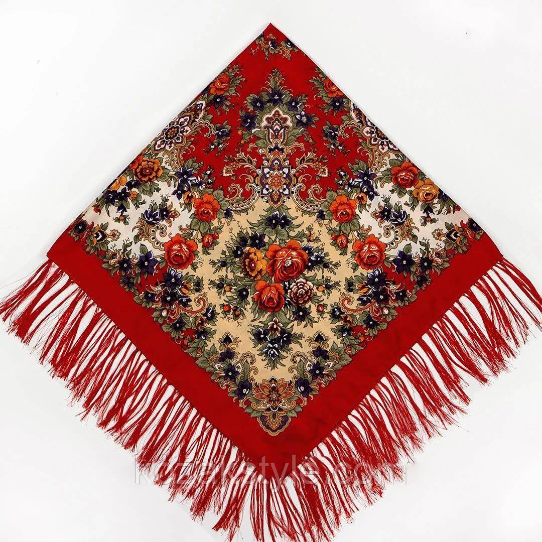 Хустка народна червона з бахромою(120х120)