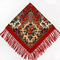 Хустка Квіти на червоному (120х120), фото 1