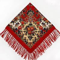 Хустка народна червона з бахромою(120х120), фото 1