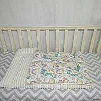 Детское одеяло бежевого цвета на синтепоне для кроватки и коляски 80*110 см Единороги