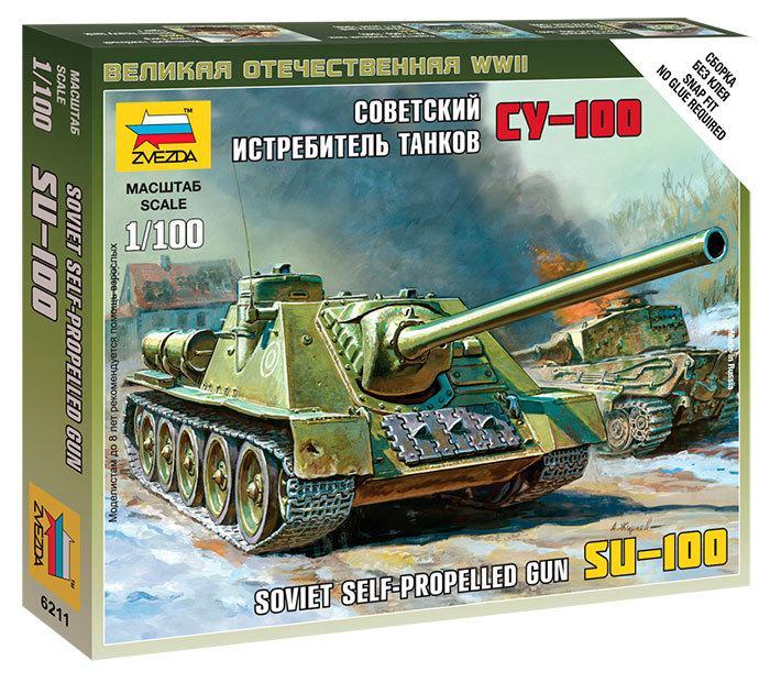 Советский истребитель танков СУ-100 в масштабе 1/100. Сборка без клея. ZVEZDA 6211