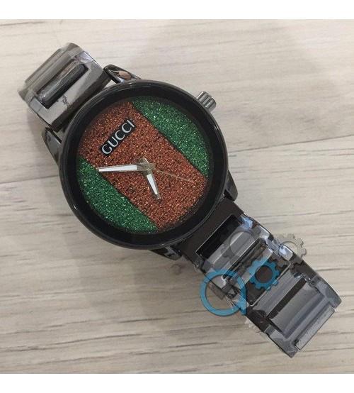Часы Gucci (Гуччи) Унисекс ( Женские\Мужские)  Черный Браслет